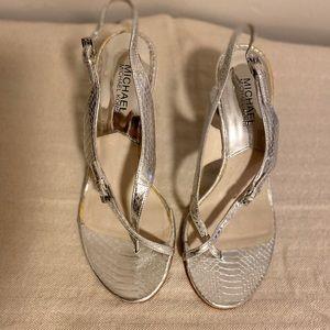 Michael Kors silver strappy heel